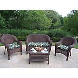 Resin Wicker 4pc Seating Set with Cushions