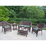 Resin Wicker 5pc Seating Set with Cushions