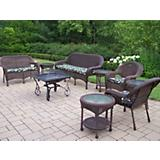 Coffee Resin Wicker 8pc Set w/ Cushions n Fire Pit