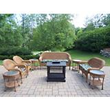 Natural Resin 8pc Seating Set w Outdoor Fire Place