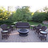 Resin Wicker 8pc Seating Set w/ Fire Bowl