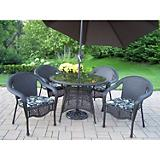 Elite Resin 5pc Dining Set w/ Cushion plus Umbrela