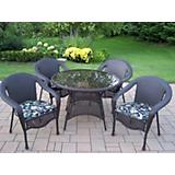 Elite Resin Wicker 5pc Dining Set with Cushions