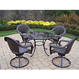 Elite Resin Wicker 5pc Swivel Dining