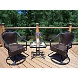 Tuscany Resin Wicker 3pc Swivel Chat Set