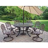 Stone Art 7pc Dining Set w/ Beige Tilting Umbrella