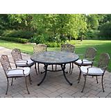 Stone Art 54in 7pc Dining Set with Cushions