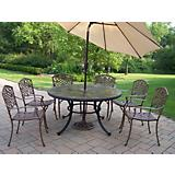 Stone Art 7pc Dining Set w/ Brown Tilting Umbrella