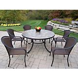 Tuscany Stone Art 54in 7pc Wicker Chair Dining Set
