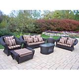 Cambridge 6pc Wicker Set w/ Cushions and Pillows