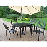 Rochester 5pc Dining Set w/ Brn Umbrella and Stand