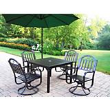 Rochester 5pc Swivel Dining Set w/ Umbrella
