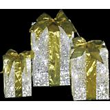 LED Lighted Gift Boxes With Gold Bows Set Of 3