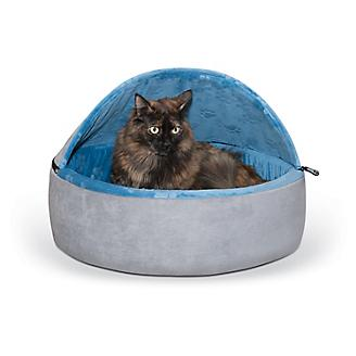 KH Mfg Self-Warming Blue Hooded Kitty Bed