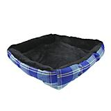 Kensington Deluxe Black Plaid Bolster Dog Bed