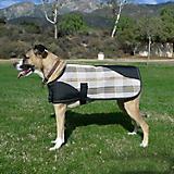 Kensington Plaid Dog Coat MD Citrus Slate