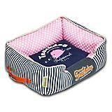 Touchdog Polka Striped Blue/Pink Square Dog Bed