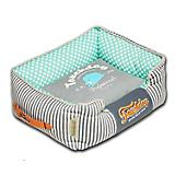Touchdog Polka Striped Teal/Gray Square Dog Bed