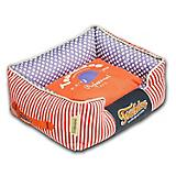 Touchdog Polka Striped Orange Square Dog Bed