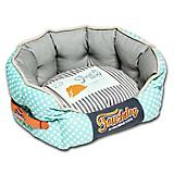 Touchdog Polka Striped Blue/Gray Round Dog Bed