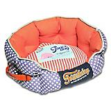Touchdog Polka Striped Orange Bolster Dog Bed