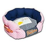 Touchdog Polka Striped Pink/Blue Round Dog Bed