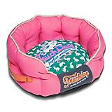 Touchdog Rabbit Spotted Pink/Teal Round Dog Bed