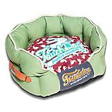 Touchdog Rabbit Spotted Green/Red Round Dog Bed