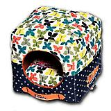 Touchdog Butterfly Pattern 2in1 Dog House Bed