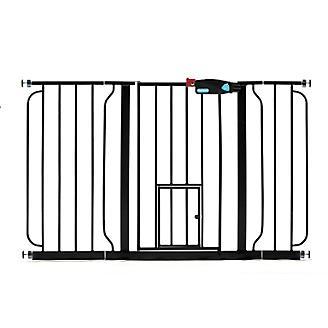 Carlson Pet Black Extra Wide Gate w/Pet Door