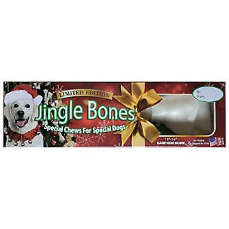 Holiday Rawhide Jingle Large Dog Bone 13-15in Box