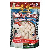 Holiday Rawhide Braids 8in Dog Treat 3pk