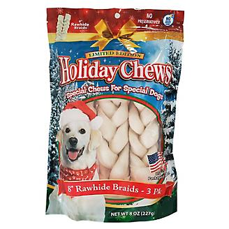 Holiday Rawhide Braids 8in Dog Treat 3pk