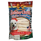 Holiday Rawhide Rolls 5in Dog Treat 24pk
