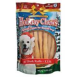 Holiday Pork Rolls 8in Dog Treat 12pk