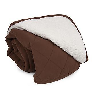 Carolina Pet Chocolate Diamond Quilt/Sherpa Throw