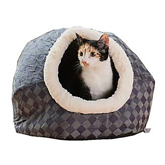 Armarkat C44 Blue Checkered Cuddle Cave Cat Bed