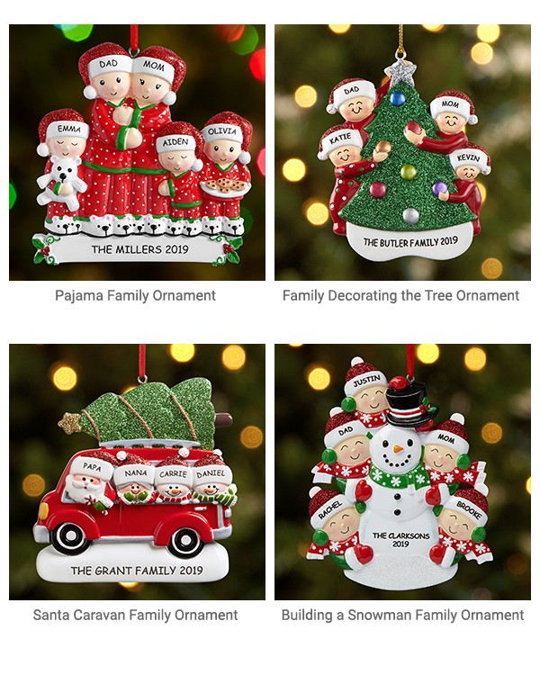 Pajama Family Ornament, Family Decorating the Tree ornament, Santa Caravan Family ornament, Building a snowman family ornament