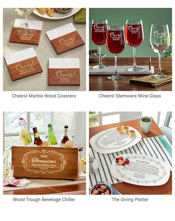 Cheers! Marble wood coasters, Cheers! Stemware Wine Glass, Wood Trough Beverage Chiller, The Giving Platter