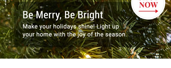 Be merry, be bright. Make your holidays shine. Shop Now.
