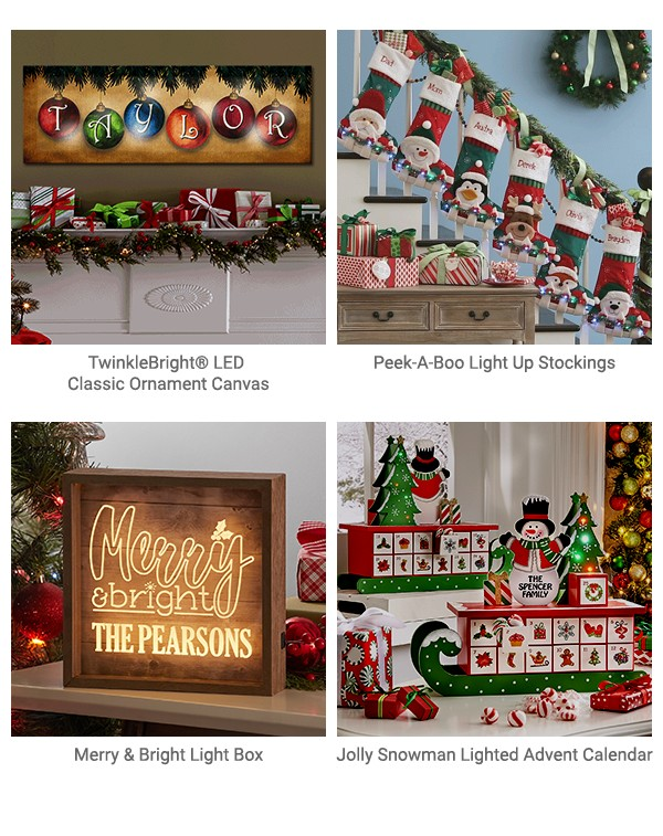 TwinkleBright LED Classic Ornament Canvas, Peek-A-Boo Light Up Stockings, Merry & Bright Light Box, Jolly Snowman Lighted Advent Calendar