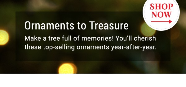 Ornaments to Treasure. Shop Now.