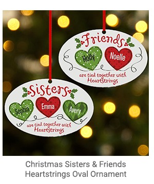 Christmas Sisters & Friends Heartstrings Oval Ornament