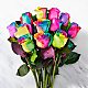 Time to Celebrate Rainbow Rose Bouquet -  12 Stems - No Vase - Thumbnail 1 Of 2