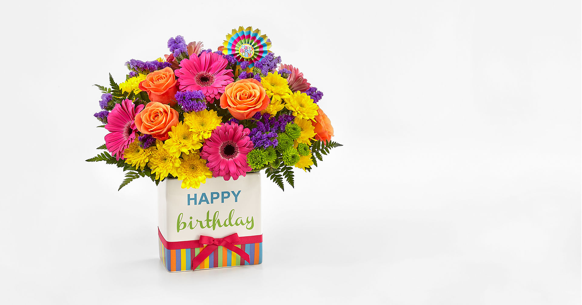 Birthday Brights™ Bouquet - VASE INCLUDED - Image 1 Of 2