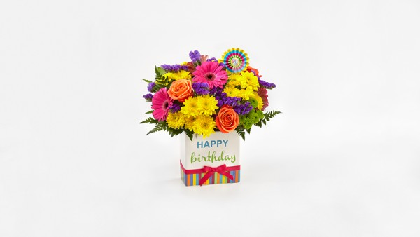 Birthday Brights™ Bouquet - VASE INCLUDED - Thumbnail 1 Of 3