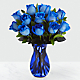 Extreme Blue Hues Fiesta Rose Bouquet - 12 Stems - VASE INCLUDED - Thumbnail 1 Of 2