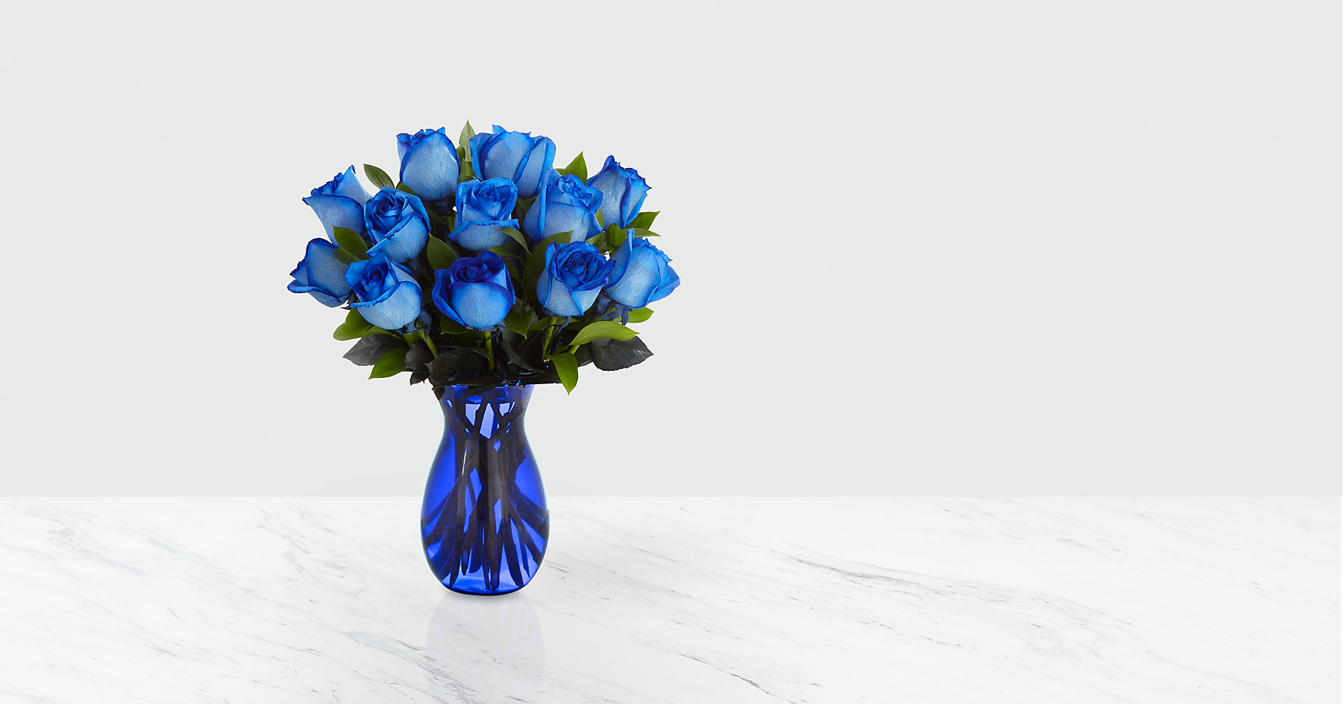Extreme Blue Hues Fiesta Rose Bouquet - 12 Stems - VASE INCLUDED - Image 1 Of 2