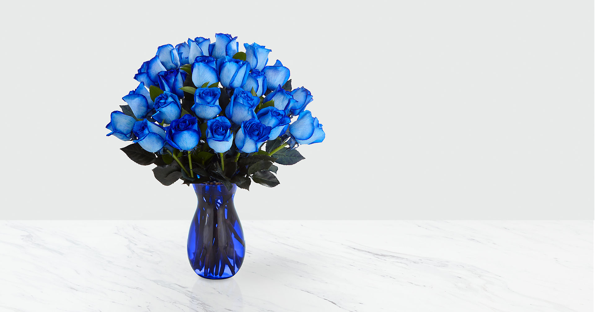 Extreme Blue Hues Fiesta Rose Bouquet - 24 Stems - VASE INCLUDED - Image 1 Of 2