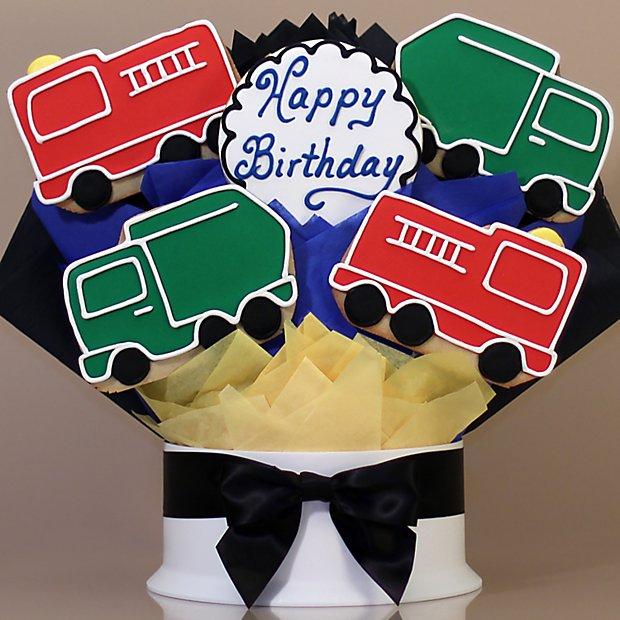 Happy Birthday Trucks Cookie Bouquet